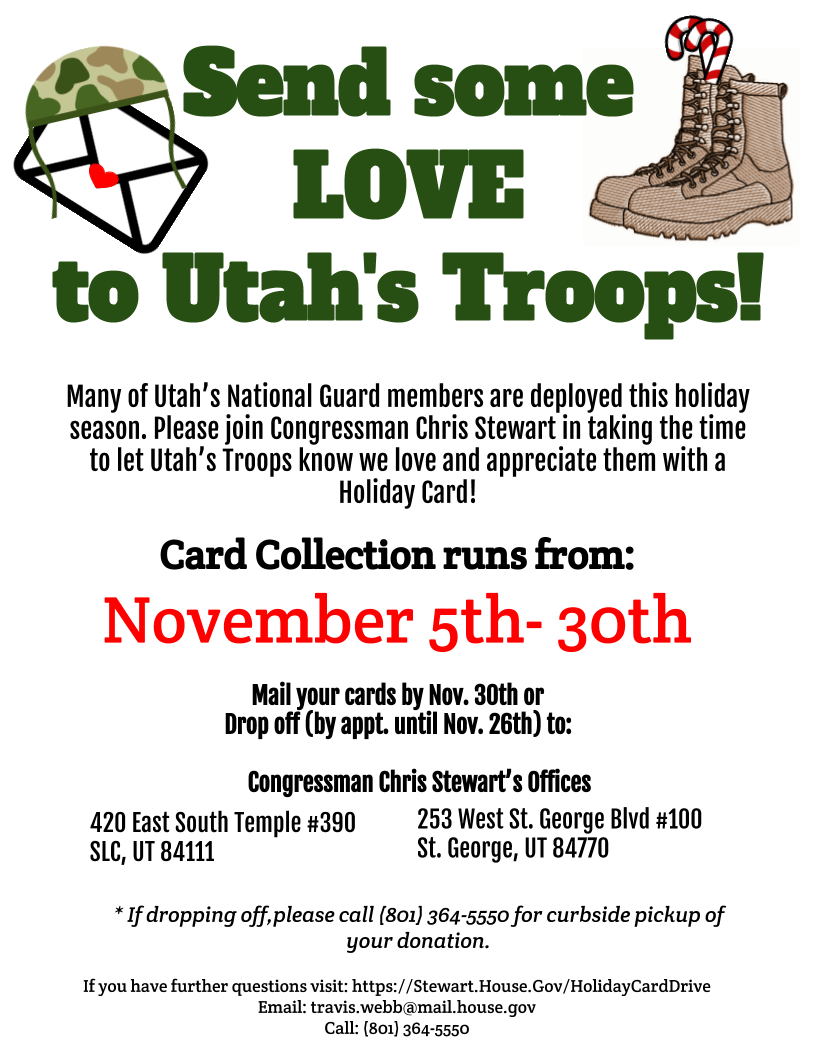 Holiday Cards for the Troops | Congressman Chris Stewart